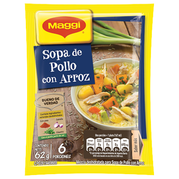 Sopa MAGGI® de Pollo con Arroz (Display 12x62g)