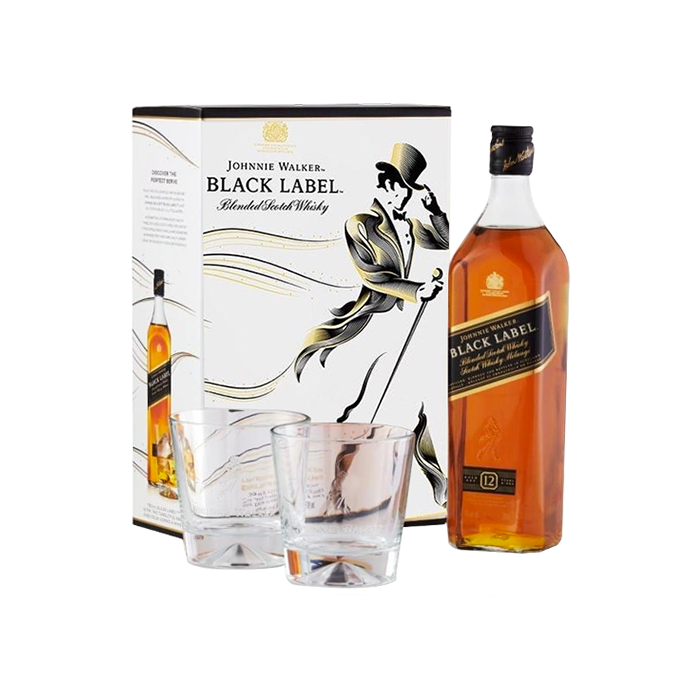 (1) Whisky JW Black Label 750 ml + (2) Vasos